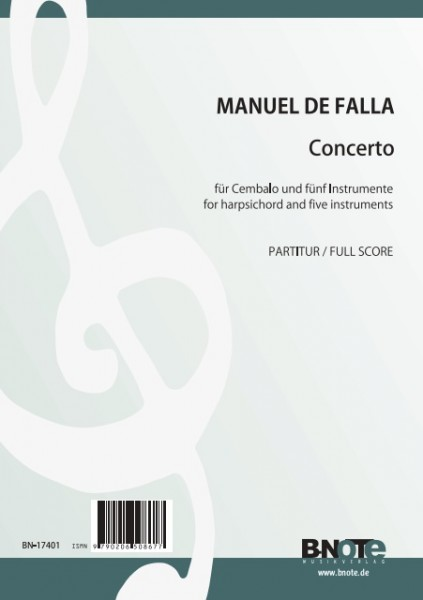 Falla: Concerto for harpsichord (or piano) and five instruments (full score)