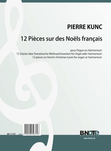 Kunc: 12 pieces on french christmas tunes for organ ar harmonium