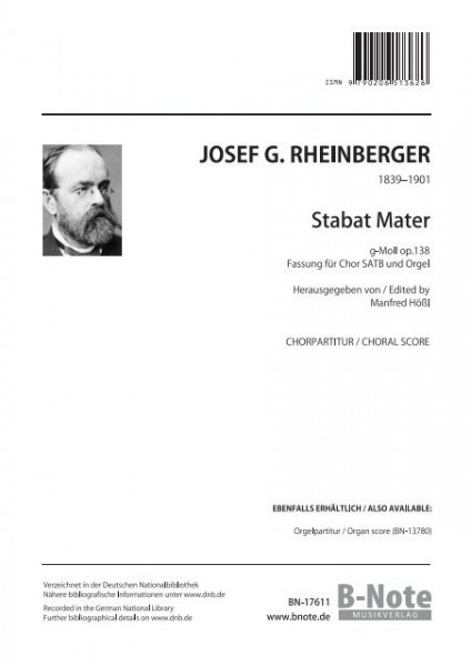 Rheinberger: Stabat Mater in g minor for choir and organ op.138 (choral score)