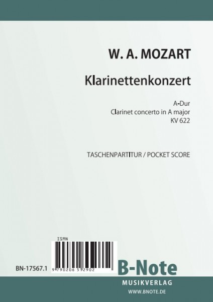 Mozart: Clarinet Concerto in A major KV 622 (Pocket score)