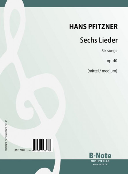 Pfitzner: Six songs op.40 (medium)