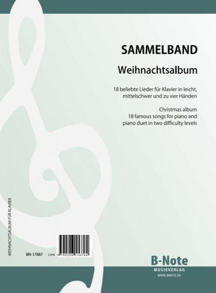 Weihnachtsalbum - 18 beliebte Lieder für Klavier in leichten Bearbeitungen