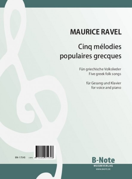 Ravel: Cinq mélodies grecques for voice and piano
