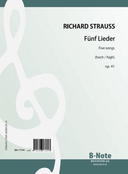 Strauss: Cinq chansons op.41 (voix elevée)
